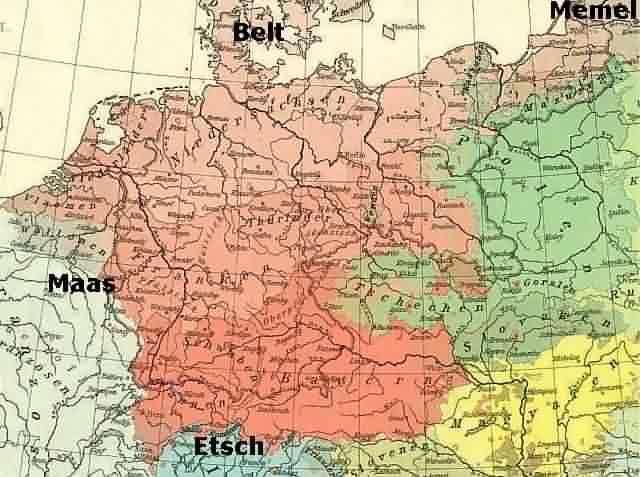 Karte Maas, memel, Etsch und Belt